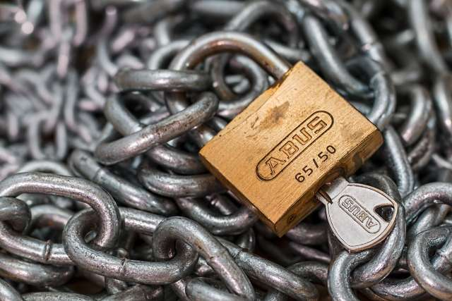 Padlock on a chain for SSL Certificates